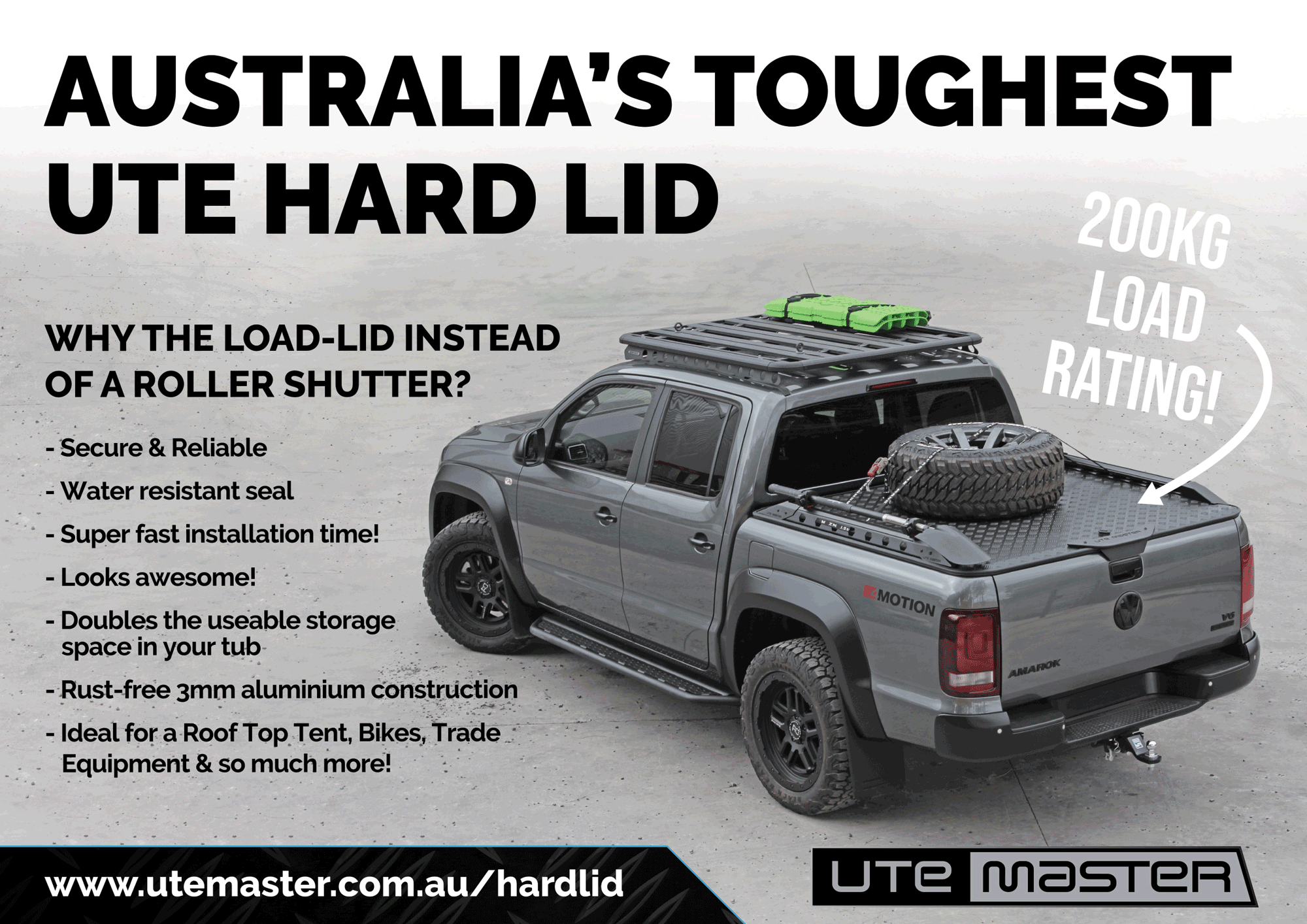 Australia's toughest ute hard lid rated to 200kg! The Load-Lid by Utemaster is an alternative cover to Tonneau, roller cover and roller shutter