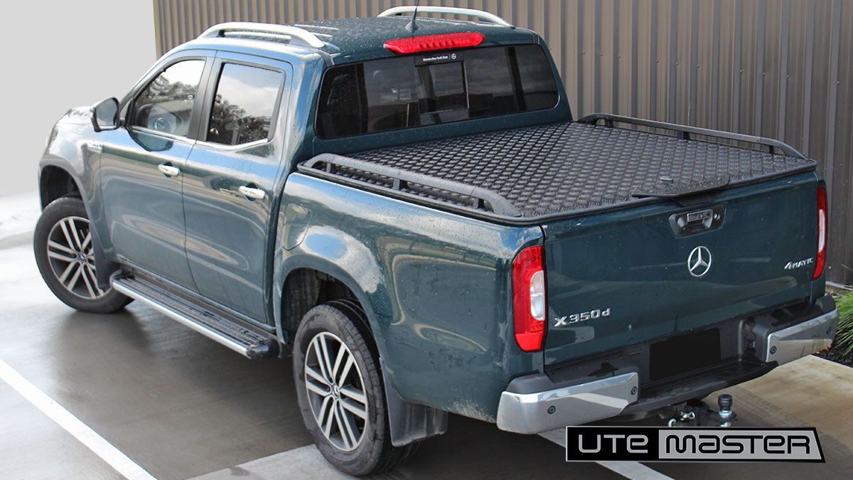 Utemaster Load Lid to suit Mercedes Benz X Class Standard Black on Green Ute Hard Lid